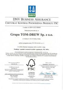 DNV Business Assurance Certyfikat Kontroli Pochodzenia Produktu FSC ® DNV-COC-000843